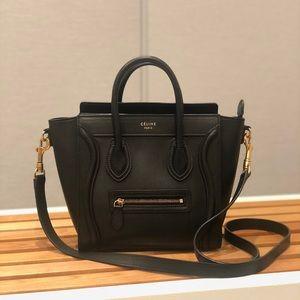 Authentic Celine Luggage Nano Black Smooth Leather